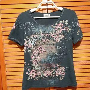 Jamee J. Rhinestones & Floral Embellished T-shirt